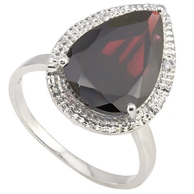 CHARMING 6.5 CT GARNET & DOUBLE WHITE DIAMOND 0.925 STERLING SILVER W/ PLATINUM RING