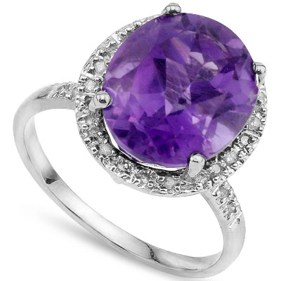 PRETTY 4.5 CT AMETHYST & DOUBLE WHITE DIAMOND 0.925 STERLING SILVER W/ PLATINUM RING