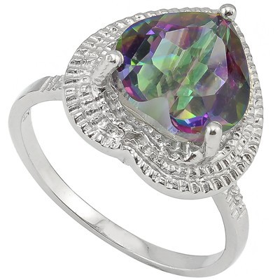 DAZZLING 3.18 CT MYSTIC GEMSTONE & DOUBLE WHITE DIAMOND 0.925 STERLING SILVER W/ PLATINUM RING