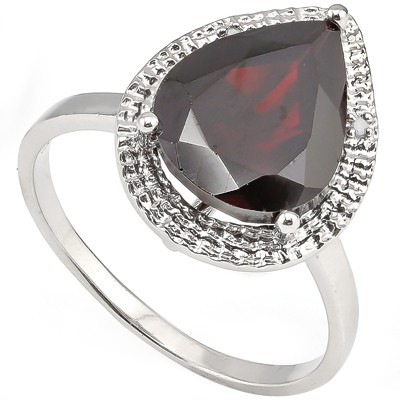 SMASHING 4.34 CT GARNET & DOUBLE WHITE DIAMOND 0.925 STERLING SILVER W/ PLATINUM RING