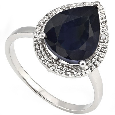 AMAZING 5.20 CT GENUINE SAPPHIRE & 2 PCS WHITE DIAMOND 0.925 STERLING SILVER W/ PLATINUM RING