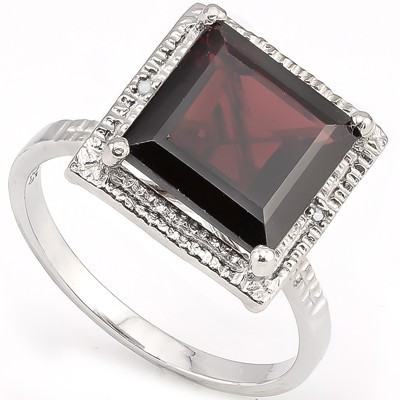 ASTONISHING 4 CT GARNET & DOUBLE WHITE DIAMOND 0.925 STERLING SILVER W/ PLATINUM RING
