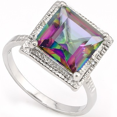 EXCELLENT 5 CT MYSTIC GEMSTONE & DOUBLE WHITE DIAMOND 0.925 STERLING SILVER W/ PLATINUM RING