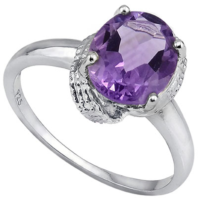 SPECTACULAR 2.55 CT AMETHYST WITH DOUBLE GENUINE DIAMONDS 0.925 STERLING SILVER W/ PLATINUM RING