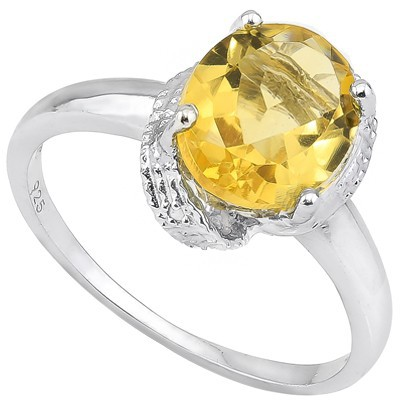 SUNSHINE 2 CT CITRINE & DOUBLE WHITE DIAMOND 0.925 STERLING SILVER W/ PLATINUM RING