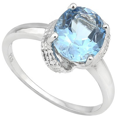 GLAMOROUS 3 CT BLUE TOPAZ & DOUBLE WHITE DIAMOND 0.925 STERLING SILVER W/ PLATINUM RING