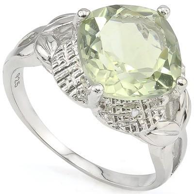 SMASHING 3.80 CT GREEN AMETHYST & DOUBLE WHITE DIAMOND 0.925 STERLING SILVER W/ PLATINUM RING
