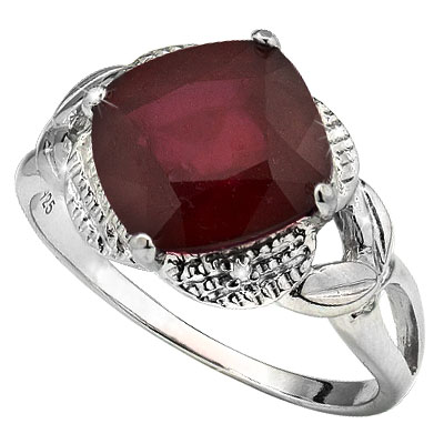 STUNNING 4.50 CT GENUINE RUBY WITH DOUBLE GENUINE DIAMONDS 0.925 STERLING SILVER W/ PLATINUM RING