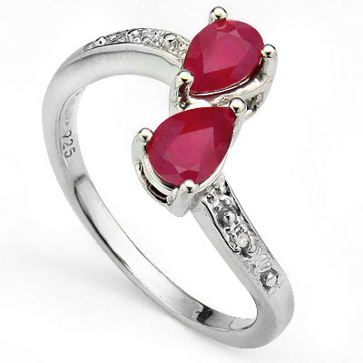 AMAZING 1.20 CT GENUINE RUBY WITH DOUBLE DIAMONDS 0.925 STERLING SILVER W/ PLATINUM RING