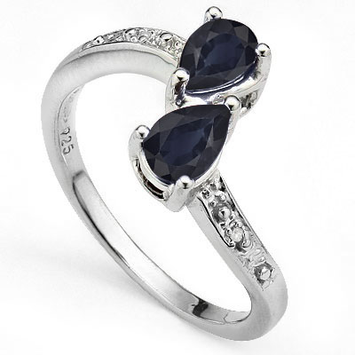ALLURING 1.04 CT GENUINE BLACK SAPPHIRE WITH DOUBLE DIAMONDS 0.925 STERLING SILVER W/ PLATINUM RING