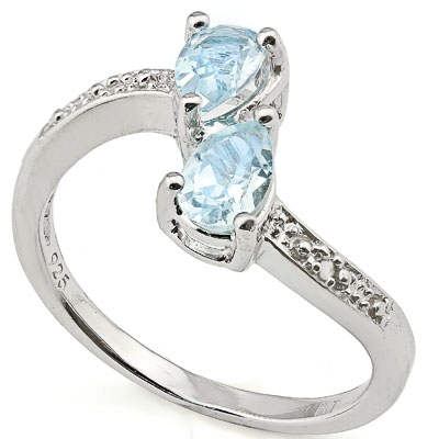 CAPTIVATING 0.94 CARAT BLUE TOPAZ WITH DOUBLE GENUINE DIAMONDS PLATINUM OVER 0.925 STERLING SILVER RING
