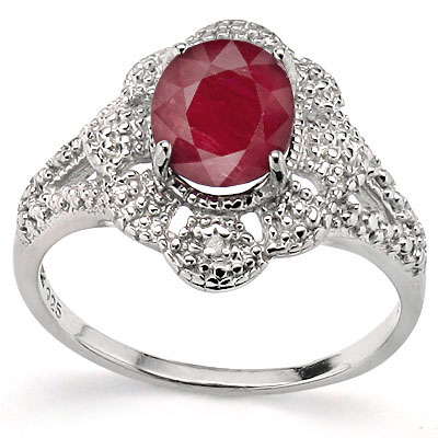 BRILLIANT 2.15 CT GENUINE RUBY WITH DOUBLE DIAMONDS 0.925 STERLING SILVER W/ PLATINUM RING