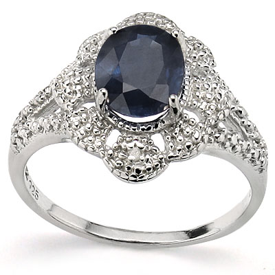AWESOME 2.15 CT GENUINE BLACK SAPPHIRE WITH DOUBLE GENUINE DIAMONDS 0.925 STERLING SILVER W/ PLATINUM RING