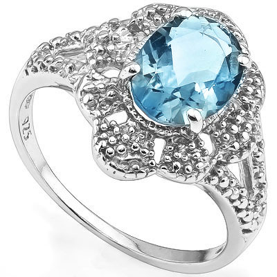 BEAUTIFUL 2.20 CT BLUE TOPAZ WITH DOUBLE GENUINE DIAMONDS 0.925 STERLING SILVER W/ PLATINUM RING