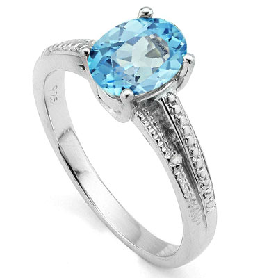 CAPTIVATING 1.65 CT BLUE TOPAZ WITH DOUBLE GENUINE DIAMONDS 0.925 STERLING SILVER W/ PLATINUM RING