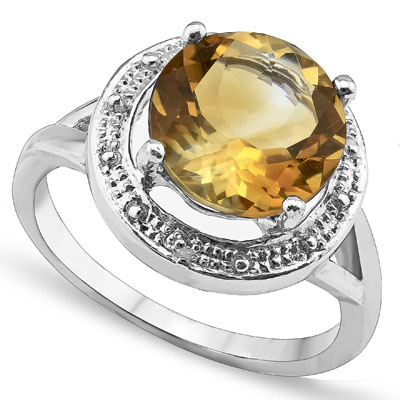 CLASSY 10.00 CT CITRINE WITH DOUBLE GENUINE DIAMONDS 0.925 STERLING SILVER W/ PLATINUM RING