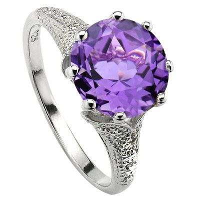 SMASHING 3.34 CT AMETHYST & 2 PCS WHITE DIAMOND PLATINUM OVER 0.925 STERLING SILVER RING