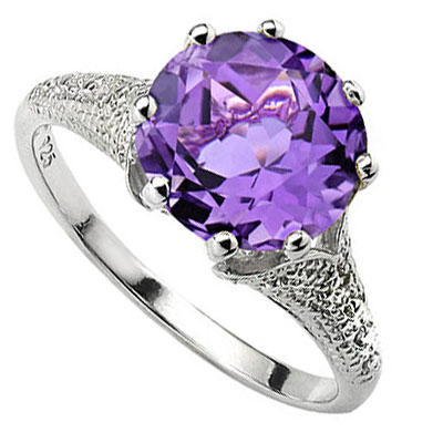 SMASHING 3.34 CT AMETHYST WITH DOUBLE GENUINE DIAMONDS 0.925 STERLING SILVER W/ PLATINUM RING