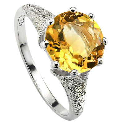 ELITE 3.40 CT CITRINE WITH DOUBLE DIAMONDS 0.925 STERLING SILVER W/ PLATINUM RING