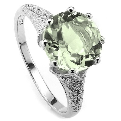 DAZZLING 3.40 CT GREEN AMETHYST & 2 PCS WHITE DIAMOND 0.925 STERLING SILVER W/ PLATINUM RING