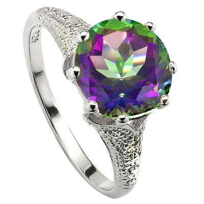ELEGANT 3.40 CT MYSTIC GEMSTONE WITH DOUBLE GENUINE DIAMONDS 0.925 STERLING SILVER W/ PLATINUM RING