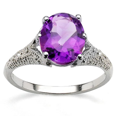 GLAMOROUS 2.55 CT AMETHYST WITH DOUBLE GENUINE DIAMONDS 0.925 STERLING SILVER W/ PLATINUM RING