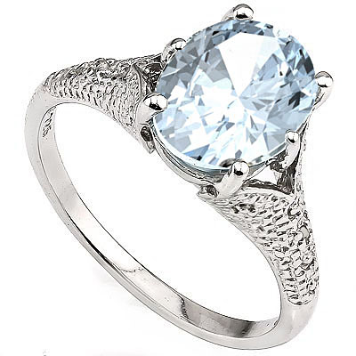 EXCLUSIVE 2.40 CT AQUAMARINE WITH DOUBLE GENUINE DIAMONDS 0.925 STERLING SILVER W/ PLATINUM RING