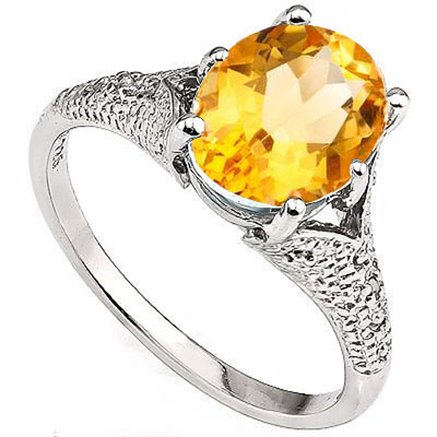 EXCELLENT 2.55 CT CITRINE WITH DOUBLE GENUINE DIAMONDS 0.925 STERLING SILVER W/ PLATINUM RING