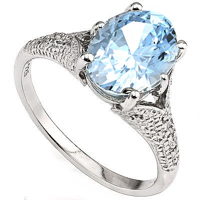 EXQUISITE 3.20 CT BLUE TOPAZ WITH DOUBLE GENUINE DIAMONDS 0.925 STERLING SILVER W/ PLATINUM RING