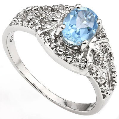 GORGEOUS 1.00 CT BLUE TOPAZ WITH DOUBLE GENUINE DIAMONDS 0.925 STERLING SILVER W/ PLATINUM RING