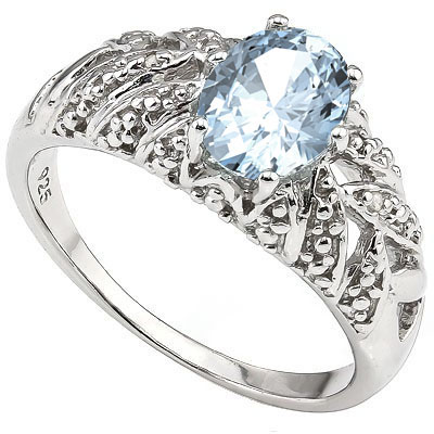 MAGNIFICENT 1.30 CT AQUAMARINE & 2 PCS WHITE DIAMOND 0.925 STERLING SILVER W/ PLATINUM RING