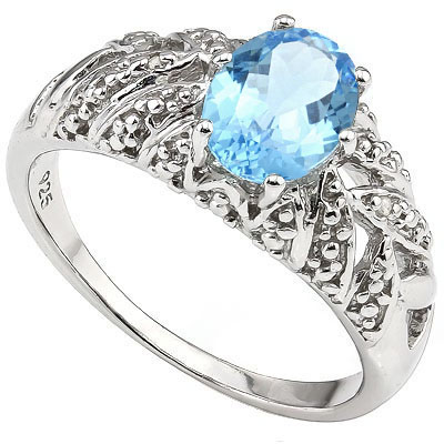 MESMERIZING 1.60 CT BLUE TOPAZ WITH DOUBLE GENUINE DIAMONDS 0.925 STERLING SILVER W/ PLATINUM RING
