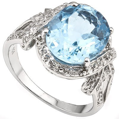 PERFECT 5.60 CT BLUE TOPAZ WITH DOUBLE GENUINE DIAMONDS 0.925 STERLING SILVER W/ PLATINUM RING