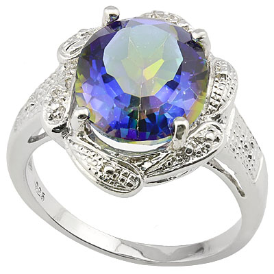SPECTACULAR 4 CARAT OCEAN MYSTIC GEMSTONE WITH GENUINE DIAMONDS PLATINUM OVER 0.925 STERLING SILVER RING