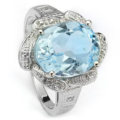 PRECIOUS 5.60 CT BLUE TOPAZ WITH DOUBLE GENUINE DIAMONDS 0.925 STERLING SILVER W/ PLATINUM RING