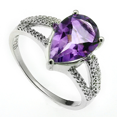 MAGNIFICENT 2.50 CARAT AMETHYST WITH DOUBLE GENUINE DIAMONDS PLATINUM OVER 0.925 STERLING SILVER RING