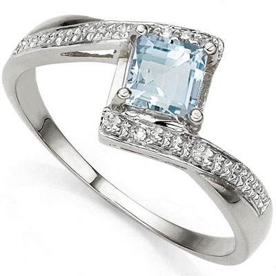 PRETTY 0.60 CT AQUAMARINE WITH DOUBLE GENUINE DIAMONDS 0.925 STERLING SILVER W/ PLATINUM RING