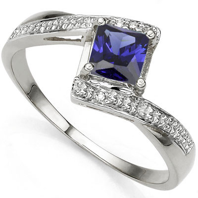 BRILLIANT 1.11 CARAT LAB TANZANITE & DOUBLE GENUINE DIAMONDS PLATINUM OVER 0.925 STERLING SILVER RING