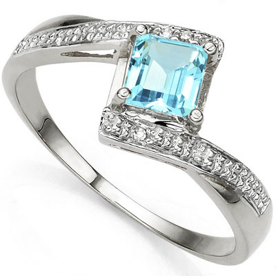 ASTONISHING 0.84 CARAT BLUE TOPAZ WITH DOUBLE GENUINE DIAMONDS PLATINUM OVER 0.925 STERLING SILVER RING