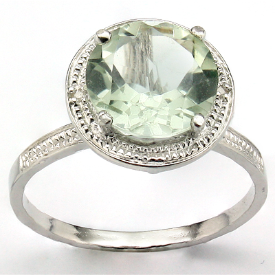 ASTONISHING 3.02 CT GREEN AMETHYST & 2PCS GENUINE DIAMOND PLATINUM OVER 0.925 STERLING SILVER RING