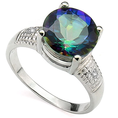 SPARKLING 3.21 CT BLUE MYSTIC GEMSTONE WITH DOUBLE GENUINE DIAMONDS PLATINUM OVER 0.925 STERLING SILVER RING