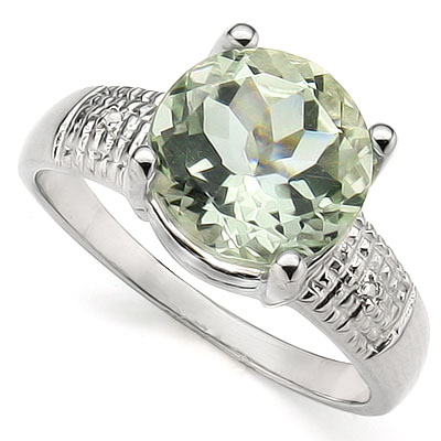 CHARMING 3.34 CT GREEN AMETHYST WITH DOUBLE GENUINE DIAMONDS PLATINUM OVER 0.925 STERLING SILVER RING