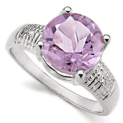 MARVELOUS 3.33 CT PINK AMETHYST WITH DOUBLE GENUINE DIAMONDS PLATINUM OVER 0.925 STERLING SILVER RING