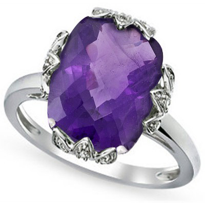 GLAMOROUS 4.80 CT AMETHYST & 2 PCS WHITE DIAMOND PLATINUM OVER 0.925 STERLING SILVER RING