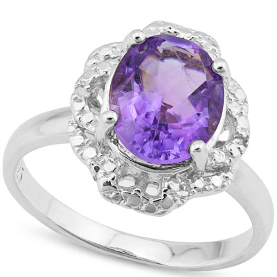 MARVELOUS 2.30 CARAT AMETHYST WITH GENUINE DIAMONDS PLATINUM OVER 0.925 STERLING SILVER RING