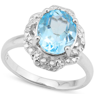 PRETTY 3.25 CARAT BLUE TOPAZ WITH GENUINE DIAMONDS PLATINUM OVER 0.925 STERLING SILVER RING