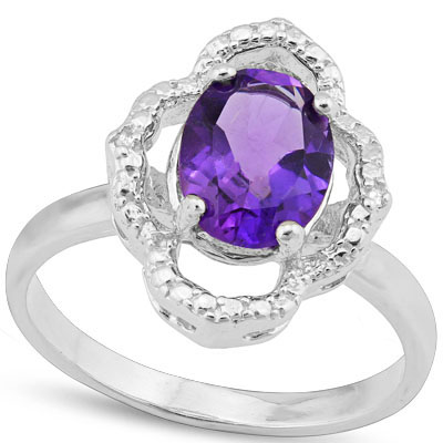 SPARKLING 1.67 CARAT AMETHYST WITH GENUINE DIAMONDS PLATINUM OVER 0.925 STERLING SILVER RING