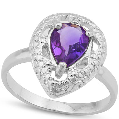 ALLURING 1.00 CARAT AMETHYST WITH GENUINE DIAMONDS PLATINUM OVER 0.925 STERLING SILVER RING