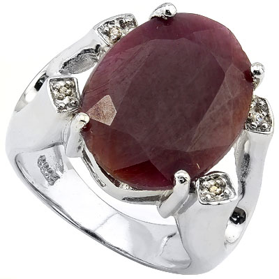 ALLURING 16CT GENUINE RUBY & 4 PCS GENUINE DIAMOND PLATINUM OVER 0.925 STERLING SILVER RING