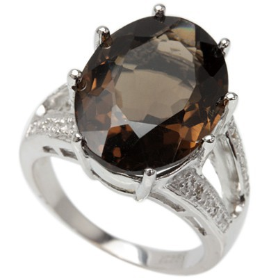 ENORMOUS 12.00 CT SMOKEY TOPAZ 0.925 STERLING SILVER W/ PLATINUM RING